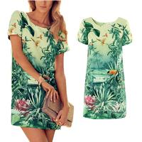 Hot 2014 Europe Women Dress Painting Landscape Print Floral Chiffon Dress Yellow