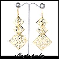 Brand fashion women earring 3 parts square geometry drop earrings for women girls style hot selling metal pendant earrings