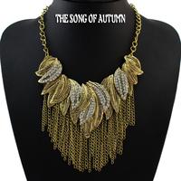 2014 New Fashion Female Antique Jewelry Alloy Tassel Necklaces & Pendants Rhinestone Statement Necklace