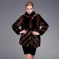 High-grade women mink fur coat with fur hood collar Coffee striped mink coats for ladies