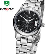 Nuevo estilo de lujo mujeres WEIDE del acero inoxidable calendario completo relojes de zafiro cuarzo suizo reloj de vestir metros impermeabilizado