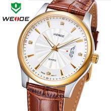 Nueva WEIDE lujo calendario completo genuino hombres correa de cuero de moda visten los relojes de zafiro suizo movimiento de cuarzo reloj 3ATM