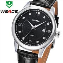 Lujo moda WEIDE genuino correa de cuero calendario de zafiro relojes hombres estilo negocios metros impermeabilizado reloj de cuarzo suizo