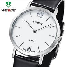 Nueva moda de WEIDE genuino correa de cuero suizo Ronda de cuarzo de zafiro relojes para hombres relojes de calendario 30 metros resistente al agua vestido reloj