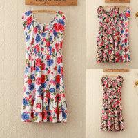 Dresses Hot Sale Freeshipping Natural 203 S-xxl Women Summer 2014 New Spring Women's Cotton Flower Dress Sleeveless knee Ruffle