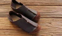 [ORIGINAL STYLE] women's cowhide flat 100% genuine leather women flats shoes personality shoes handmade shoes