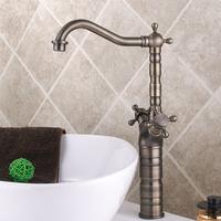 2014 China Hot sale Antique Bronze Design Long Neck Double Handles Brass Kitchen Faucet