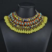 2014 New Za Brand Shourouk Fashion Bohemian Mental Necklace Pendants Chunky Choker Hollow Necklace Statement 0040
