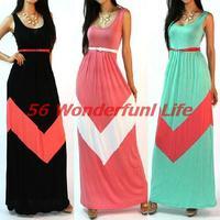 Hot Sale Freeshipping Natural Broadcloth Floor-length O-neck New Women Summer Long Dress Maxi Vest Floor Vestidos with Belt