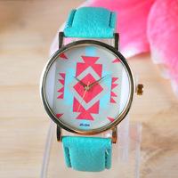 2014 New Geneva watch Geometry fashion leather band women dress watches 12 colors sport quartz wristwatch JD334