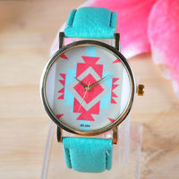 New Geneva watch 2014 Geometry fashion leather band women dress watches 12 colors sport quartz wristwatch JD334