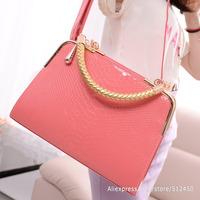 Candy Color 2014 Summer Fresh Style Metal Edge Women's Leather Handbags Designer Lady Bag Shopping Bag