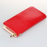 2014 new arrival quality Genuine leather crocodile wallet candy color day clutch women purse Alligator wallet ladies coin purse