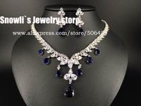 2015 luxury fashion elegant Sapphire CZ Austria crystal necklace earrings set, wedding, banquet, dress jewelry ,S14011