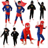 4Pcs spider man costume spiderman suit spider-man costume child Of styles /spider man Superman Batman Zorro tights S/M/L