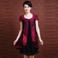 XL XXL XXXL 4XL New Arrival 2014 Summer  Women One-piece Dress Women's Plus Size O-Neck Loose 0ne-piece Dress Top Quality