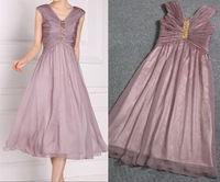 New arrival 2014 women's shirring chiffon with crystal  evening dress party dress