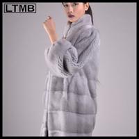 2014 hot selling! women natural mink fur coat with mandarin collar Grey mink fur long coat for ladies