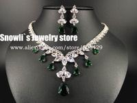2014 luxury fashion elegant green CZ Austria crystal necklace earrings set, wedding, banquet, dress jewelry ,S14020