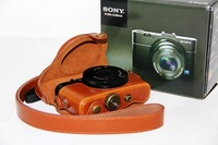 Light Brown Color PU Leather Case Bag Protector For Sony DSC-RX100 RX100 Camera+ Free shipping