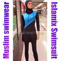 2014 Hot Sell Muslim Swimsuit,CheapMuslim Swimwear,Islamic Swimsuit Full cover+hajib +Free Shipping color blue pink purple