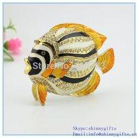 enamel  SCJ356 100% handmade sea fish shape jewelry box for jewelries