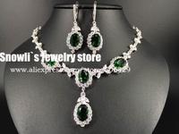2015 luxury fashion water drop green zircon Austria crystal necklace earrings set, wedding, banquet, dress jewelry ,S14027