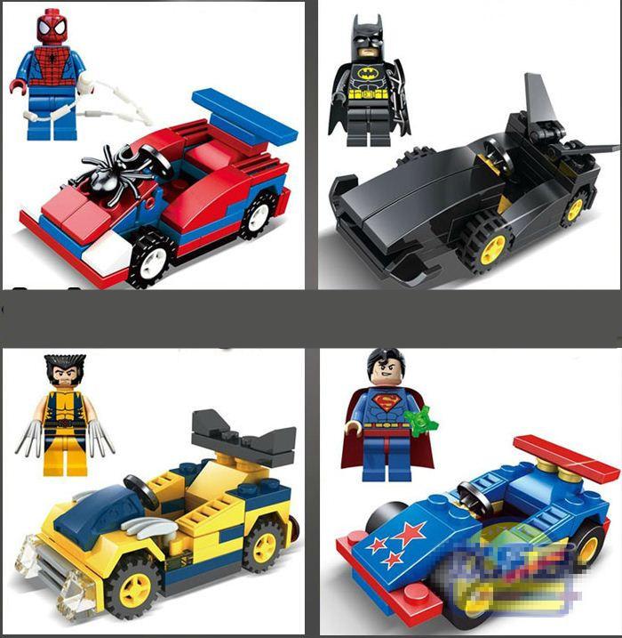 8pcs/Set Marvel & DC Super Heroes Batmobile Building Bricks Blocks Sets Figures & Vehicles Minifigures Toy Compatible With Lego(China (Mainland))