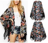Spring Autumn Vintage Women's Floral Flower Print Tassels Hem Loose Kimono Long Cardigan Shirts Chiffon Blouses Black Tops