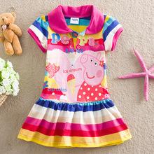 Novo verão moda das meninas bonitos Crianças Crianças Roupa Peppa Pig Vestido Rose Red listrado colorido Tops frete grátis(China (Mainland))