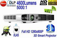 New DLP 4600 lumens Wifi LAN Digital Smart Home Theater Projector Free Shipping