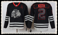 Free Shipping Wholesale Cheap #2 Duncan Keith Jersey,Chicago Blackhawks Black With Skull Jerseys,Numbers And Name Are Sewn On