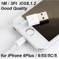 DHL Free Shipping 100pcs/Lot 1M 3Ft 8 pin USB Data Sync Charger Cable for iPhone 5/5S/5C iPad mini iOS7.1 Factory Direct Sale