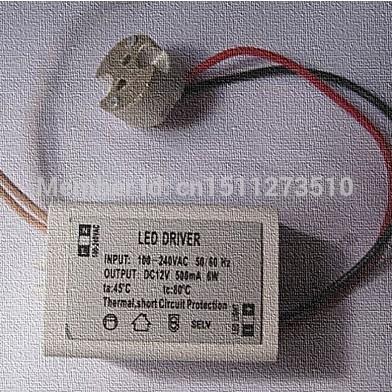 30pcs DIY Mini LED Power Supply AC/DC Adapters 6W 500mA Driver 110V 120V 220V 240V To 12V W/ Socket for LED MR11/MR16 3W 4W 5W(China (Mainland))