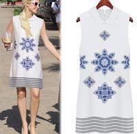Vestido Printed Tunic Casual Short Printed Chiffon Dress European Style New 2014 Summer O-neck Sleeveless White Dresses SS14D026