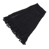 2014 New Arrival  Lace Gauze  Double Layer Stretch Waist Maxi Skirt  - Black