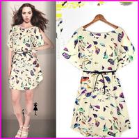 2014 Summer Europe and America Short  Dresses  Cartoon Birdie Print Loose  Casual  Women dresses Mini  Lady Dress Free Shipping
