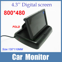 "800*480 High resolution 4.3"" Fold LCD Car Rearview Color Monitor Reverse Camera car Security Monitor for Camera DVD VCR 12V"