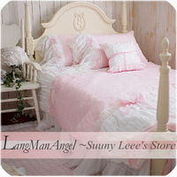 LangMan Angel Lace piece set pink satin jacquard wedding bedding princess dream wedding bedding textile gift fashion bedding