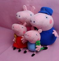 2014 New Brand 19cm peppa and george+30cm peppa grandpa grandma pig familia plush doll toys 4pcs/set free shipping