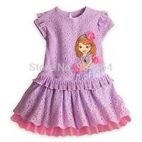 girls flower dresses summer 2014 Children's Short-sleeve Sophia lace Princess dress kids clothes for 1-4 years