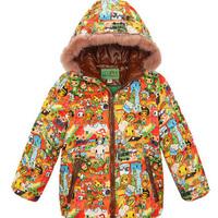 Kids warm coats animals printed thicken jacket: children clothing boy Cotton-padded jacket baby wear 2014 new girl winter dress