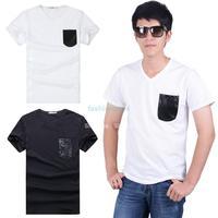 2014 New Arrival High Quality Men Tops Tees Short sleeve t-shirt men's Cotton t shirt Men M-XXL White/ Black #2 SV001683