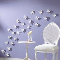 12 pcs 3D DIY Six color Wall Stickers Butterflies Home Decor Room Decorations Decals