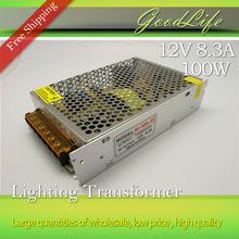 12V 8.3A 100W 110V-220V Lighting Transformer,High quality LED driver for LED strip power supply,power adapter,Free shipping(China (Mainland))