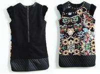 New 2014 Winter Clothing Print Elegant Gem Rabbit Fur Women Cloth Bandage Dress Bodycon Dresses Fashion Autumn Casual Clothes