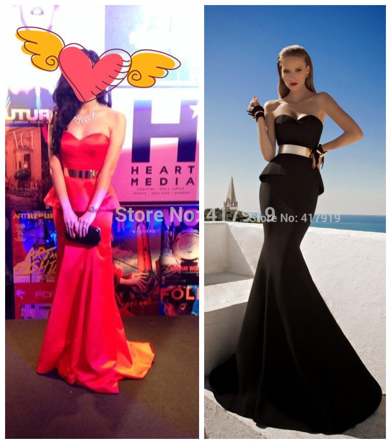 Galia lahav pure split, sirène sweetheart de ceinture en métal noir long robe de soirée de bal 2014 anniversaire, gle3