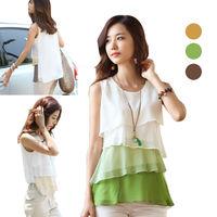 New Fashion Korean Style Blouses Women's Multi-layered Sleeveless Vest Chiffon Shirts Hot Sale 3 Color in Stock E3050#S5
