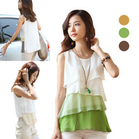 New Fashion Korean Style Blouses Women's Multi-layered Sleeveless Vest Chiffon Shirts Hot Sale 3 Color in Stock E3050#S5