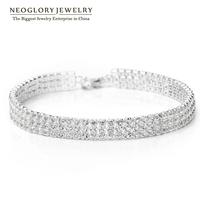 Neoglory Jewelry Platinum Plated Rhinestone Charm Chain  Bangles & Bracelets for Women Wedding Jewelry 2014 Romantic New JS12